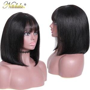 Image 3 - Nadulaヘア13*4レースフロント人毛かつら8 14インチストレートボブのかつら女性ブラジルremy毛自然な色