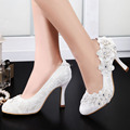 Fast Shipping US EP11099 Women Ivory Almond Toe High Heels Party Pumps Flower Appliques Rhinestones Satin Lace Wedding Shoes
