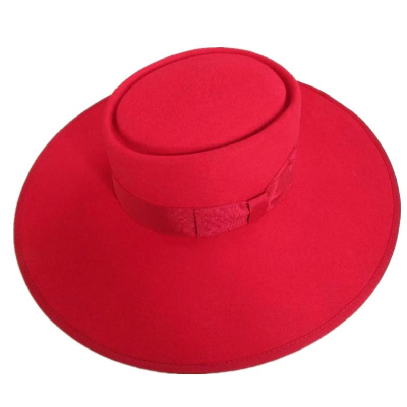 Wool Pork Pie Felt Fedora   Porkpie Wide Brim Floppy Hat 12cm Red-in ... 2bf0aadaeb2