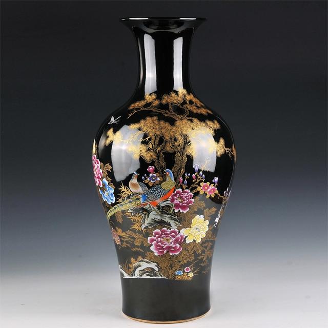 US $590.5  Keramik vase landung große schwarze glasur blume fischschwanz in  modernen Europäischen stil wohnzimmer dekoration dekoration in Keramik ...