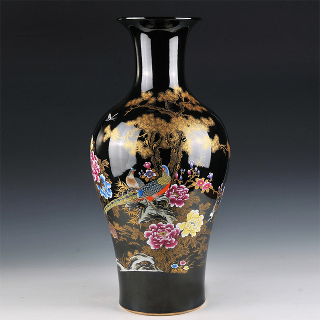 Ceramic Vase Landing Large Black Glaze Flower Fishtail In Modern