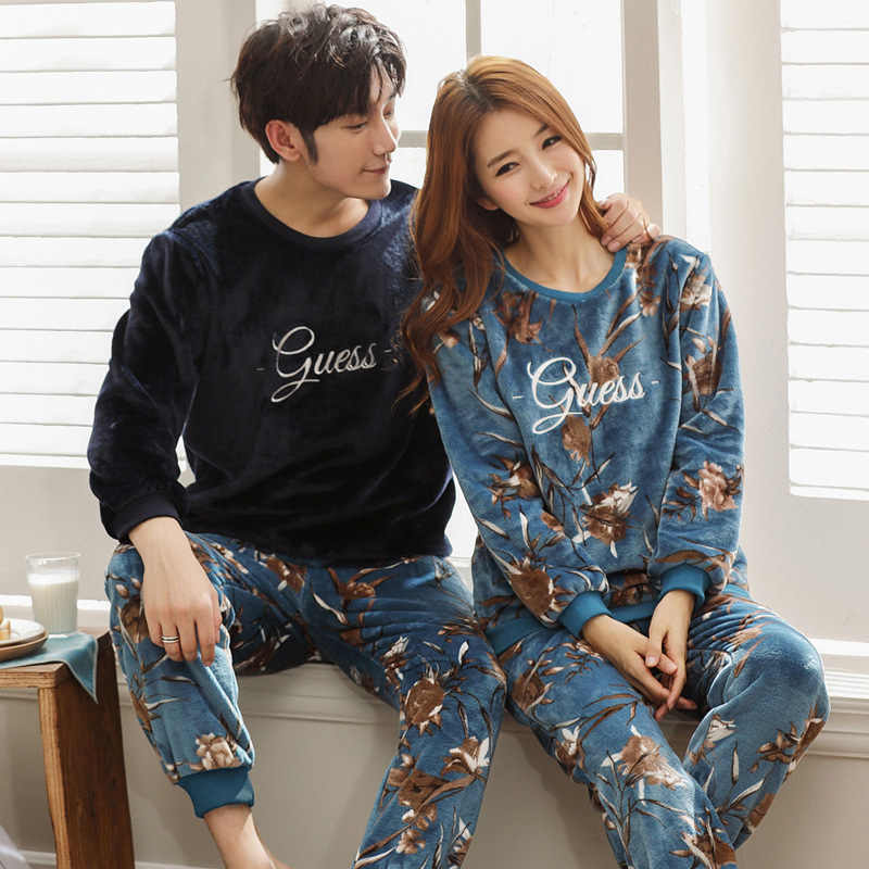 d622364a84 print Tracksuit 2018 flannel pajamas set for men and women home suits  thicken male warm home