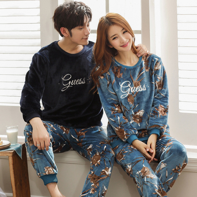 print Tracksuit 2018 flannel pajamas set for men and women home suits thicken  male warm home suits winter 2 pieces set sleepwear ebc25b950