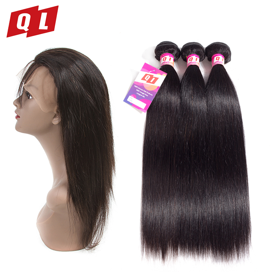 QLOVE HAIR Brazilian Straight Hair 360 Lace Frontal Closure With Bundles Human Hair 3 Bundles With
