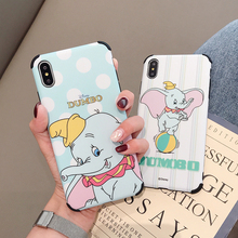 Xwmaki Korean style Cartoon Airbag Frosted Phone Case For Iphone Xs max Xr X 7 8 6 6s Plus Anti-drop Cute Dumbo Back Shell Good