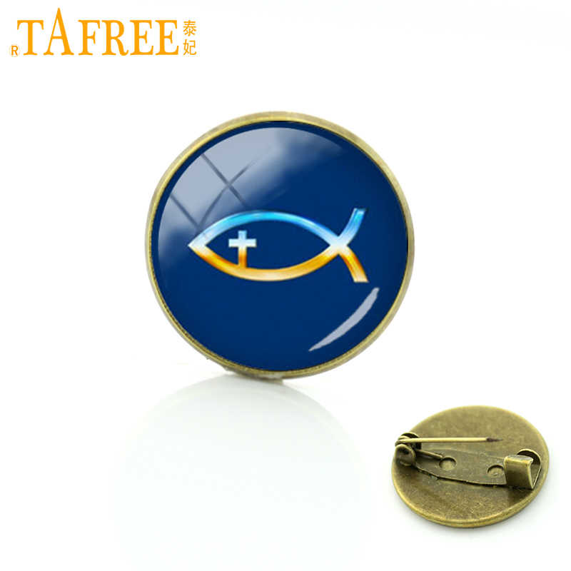 TAFREE Best Deals Ever Steam punk badges Christian Fish Symbol with Crucifix brooches pins jewelry gifts for best friends C852