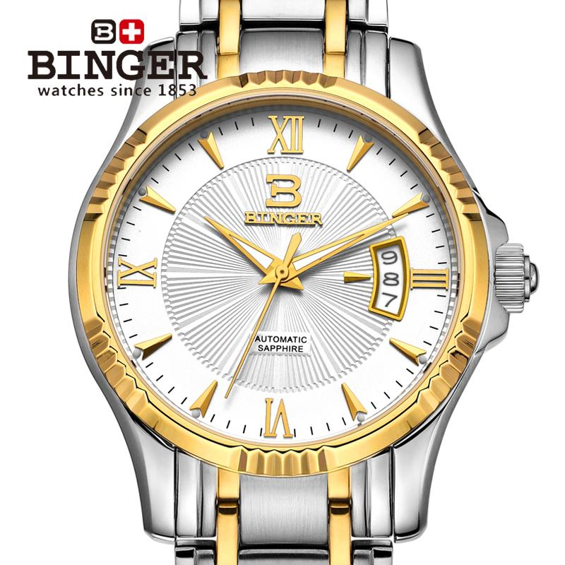 Wristwatches BINGER Luxury brand automatic mechanical self-wind sapphire clock full steel waterproof men's watch B5011-2 original binger mans automatic mechanical wrist watch date display watch self wind steel with gold wheel watches new luxury