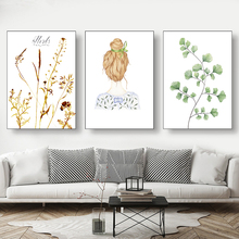 Small Fresh Green Plant Leaves Flowers With Girl Avatar Canvas Painting Art Abstract Print Poster Picture Modern Home Decor