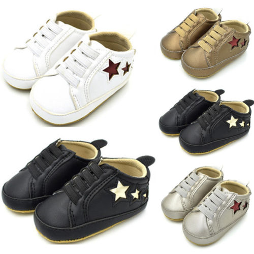 Pudcoco Infant Toddler Baby Boy Girl Soft Sole Crib Running Star Shoes Sneaker 0-18M US