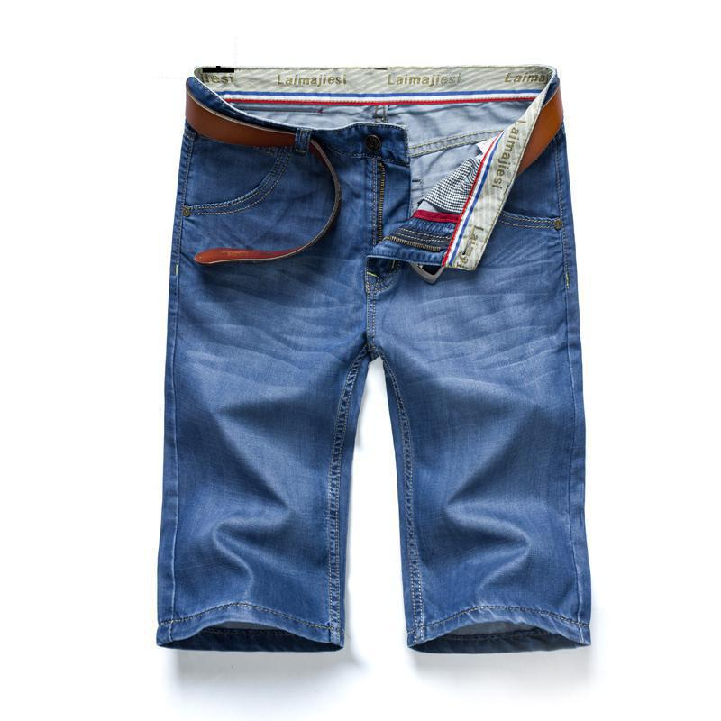 Classic Blue Knee Length Lightweight Casual Jeans Mens Brand-clothing Short Jeans Mens Skinny Jeans Mens Denim Jeans Designer