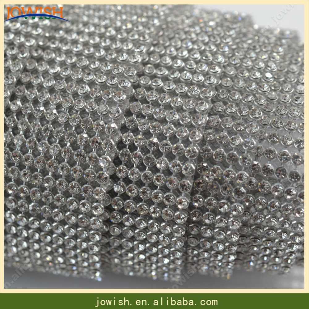2834ddcd14 24 rows sew on SS16 crystal rhinestone mesh banding trim Silver base ...
