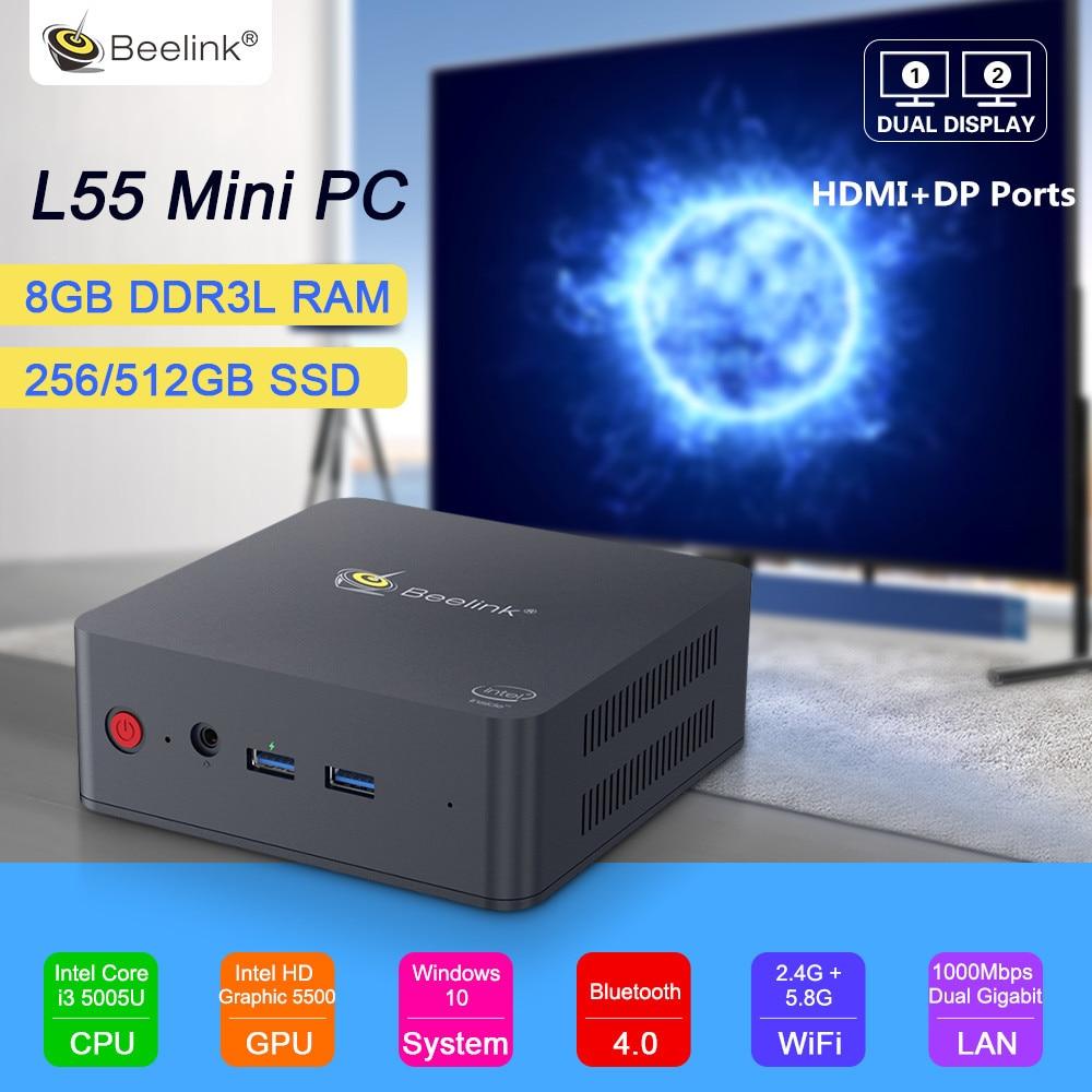 Beelink L55 Mini PC Windows 10 Intel Core i3 5005U 8GB DDR3L 256GB 512GB SSD 2.4 + 5.8GHz double WiFi 1000Mbps bluetooth 4.0 HDMI
