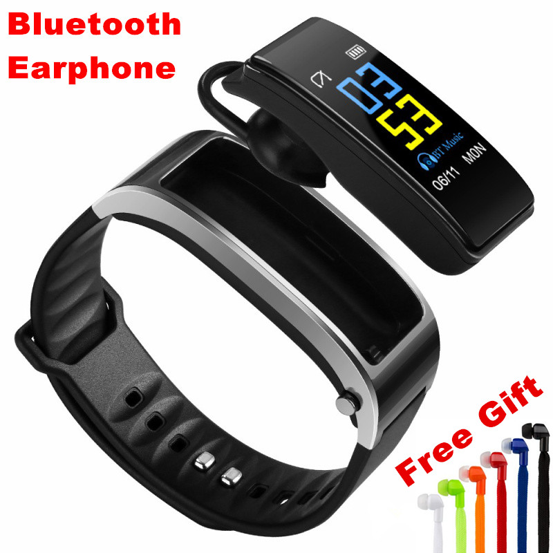 E-XY Wireless Bluetooth Headset Earbuds Smart Band Bluetooth Bracelet Pedometer Fitness Tracker Watch Wristband For Android iOS