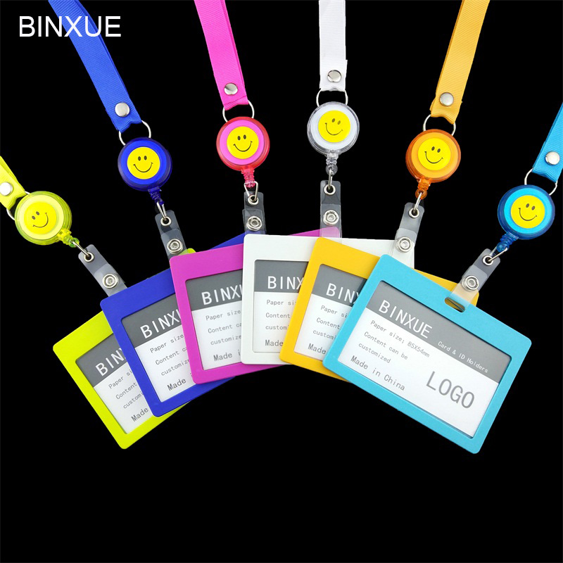 BINXUE Cover Card & ID Holders, Access control Easy to buckle Work card badge Can hang, you can clip Rope 1.5cm width