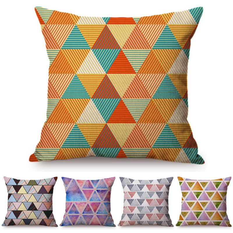 Us 5 35 34 Off Nordic Triangular Stripe Cushion Cover Colorful Houndstooth Geometric Throw Pillows Office Sofa Personality Decorative In