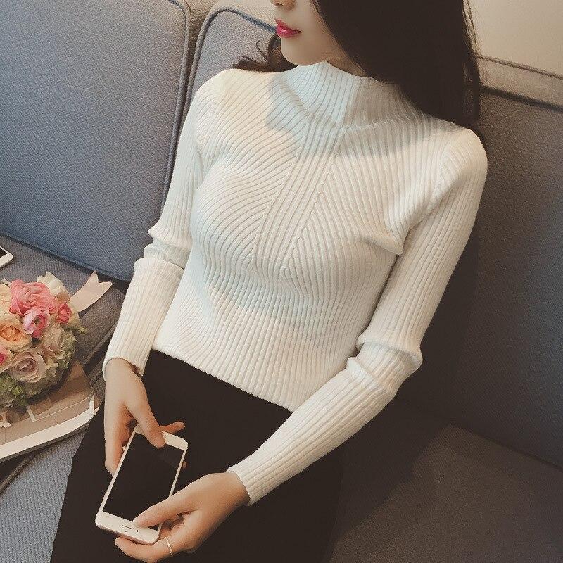 Las nuevas mujeres de cuello alto suéter mujeres suéteres de las mujeres Jersey invierno 2018 Jersey de otoño suéter de las mujeres Jersey Truien las mujeres