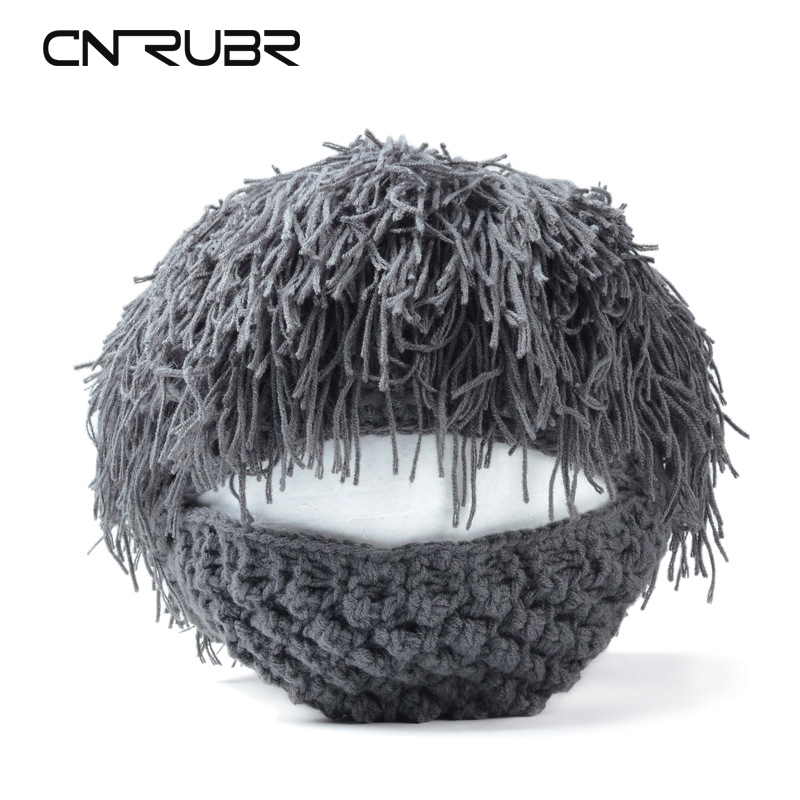 CN-RUBR Daren Tide Brand Personality Beard Hair Tassels Hand Knitted Wool Hat Autumn And Winter Warm Hat Acrylic Cool Beanies