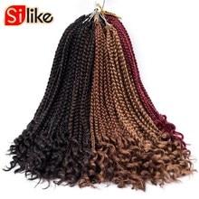 """Silike 1"""" 24 пряди свободный конец коробка косы Высокая Температура волокна синтетические нота косы волос для черный Для женщин"""