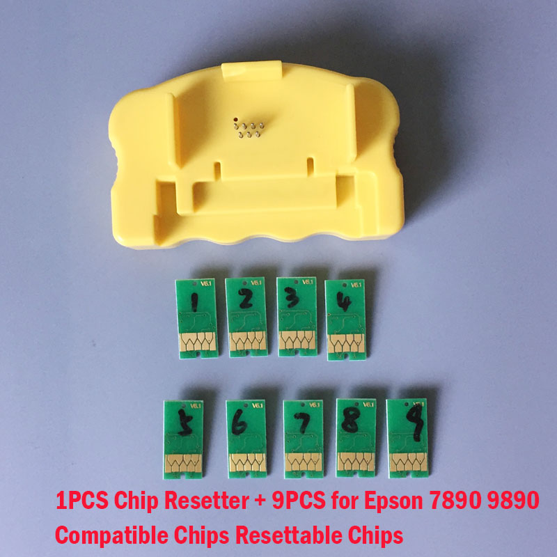 1PCS Chip Resetter + 9PCS for Epson 7890 9890 7908 9908 Compatible Chips Resetter Chips new original dx6 print head f191040 printhead compatible for epson 7700 9700 7710 9710 7890 9890 7908 9908 7900 7910 printer