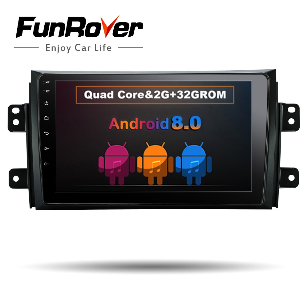 Funrover 9 Android 8.0 Car Radio for Suzuki SX4 2006-2013 1024*600 Quad Core wifi Bluetooth video audio Multimedia 2 din no dvd funrover 9 hd quad core ram 2g android 8 0 car navigation gps player for suzuki sx4 2006 2013 wifi rds radio bt fm usb no dvd