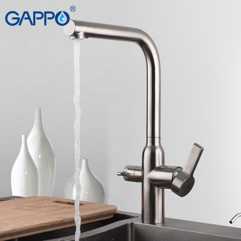 GAPPO 304 Stainless Steel Kitchen Faucets Cold Hot Water Sink Taps Water Mixer Faucets Sink Mixer Faucets Waterfall