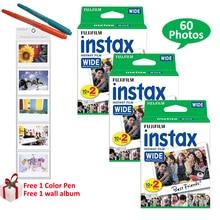 Fujifilm instax folhas fotográficas, 60 folhas brancas para fuji instant polaroid photo camera 300 200 210 100 + presentes gratuitos,