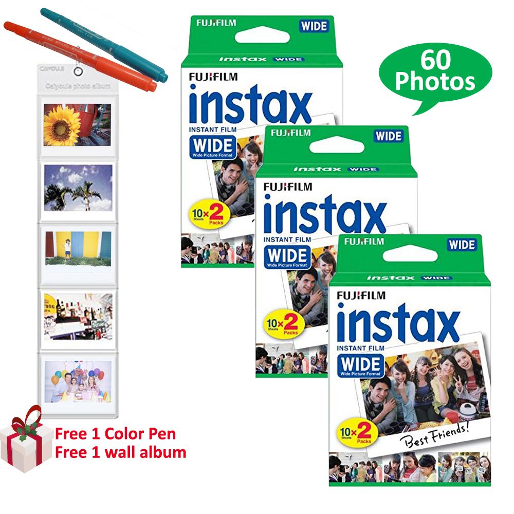 Prix pour Véritable fujifilm instax large film 60 feuilles blanc photo pour fuji instantanée polaroid photo caméra 300 200 210 100 + cadeaux gratuits