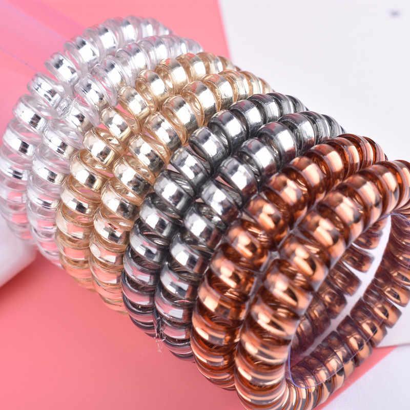 1 adet Renkli Elastik Saç Bantları Spiral Şekli At Kuyruğu Saç Bağları Sakız Lastik Bant Saç Halat Telefon Tel saç aksesuarları
