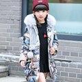Meninas para baixo crianças casaco de inverno para baixo gola de pele com capuz longo da menina das crianças do sexo feminino casacos grossos tamanho 110-160
