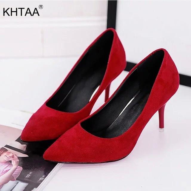 KHTAA Kadın Pompaları Faux Süet Yüksek Topuklu Kadın Ofis Yüksek Topuk Ayakkabı Klasik Sivri Burun Sığ Elbise Ayakkabı Bayanlar Artı boyutu