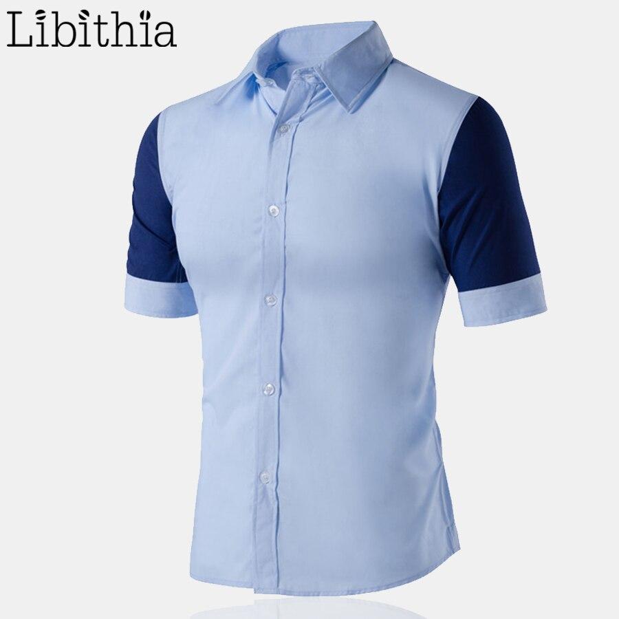 Summer Men Short Sleeve Contrast Color Shirts Mens Casual Cotton
