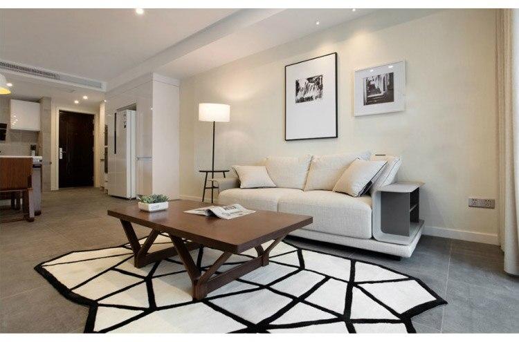 Tapis en forme de tapis noir blanc et tapis pour salon tapis fait à la main acrylique moderne chambre Table basse canapé chambre