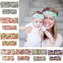 2017 New Products Mommy and Me Cotton Turban Head Wrap Set Girl Hair Accessories Cross Printing Knotted Headband Photo Prop