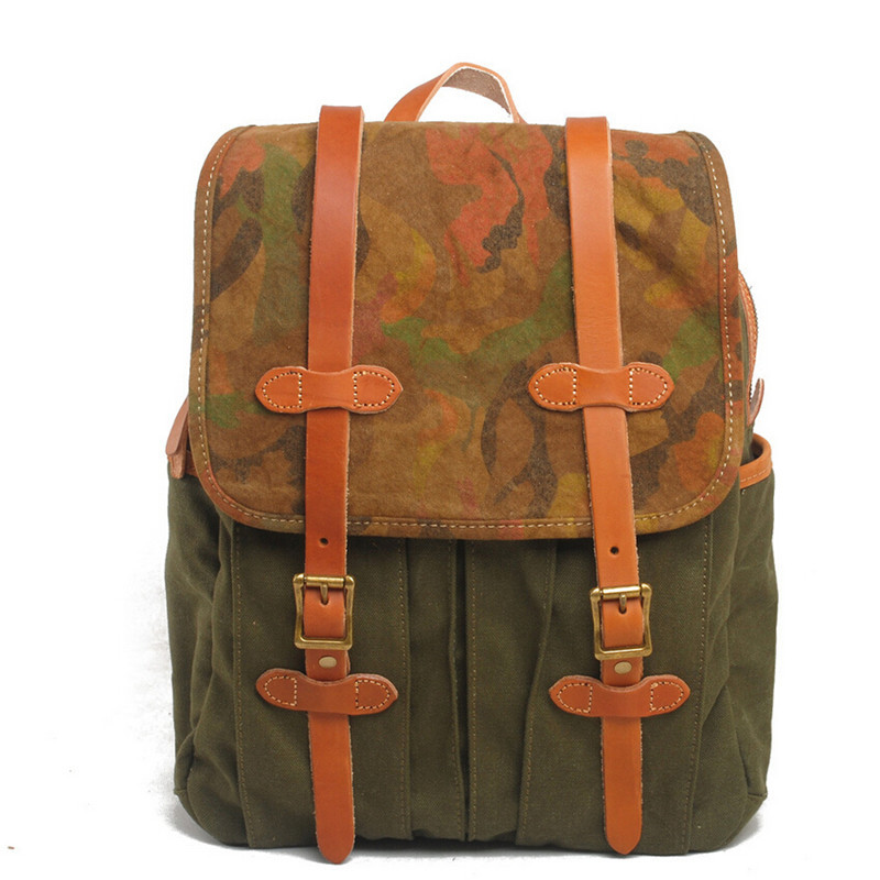 ФОТО Camouflag Canvas Leather Europe America Retro chic school book computer college laptop bag backpack travel soldiers army solid