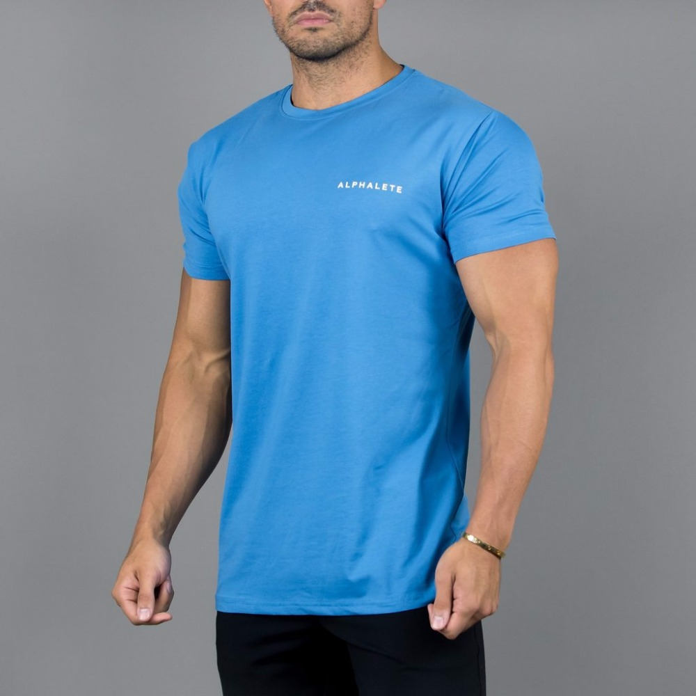 la meilleure attitude 378ae 3075f US $7.79 40% OFF|New Men T shirts Fitness Bodybuilding Tshirts Gyms  Alphalete Tees Tops Fashion Tshirt Homme Clothing High Quality Cotton  Tops-in ...