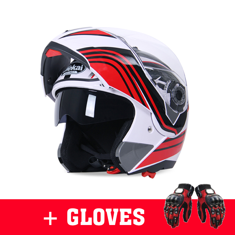 NEW JIEKAI Motorcycle Flip up racing Helmets Moto riding Double lens Smoke size M L XL XXL HELMET WITH motorcycle gloves-in Helmets from Automobiles & Motorcycles    1