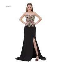 ZYLLGF Sexy Black Bridesmaid Dresses Sweetheart High Slit Vestidos Para Formatura Imported Cheap Party Dress With Beadings SL3