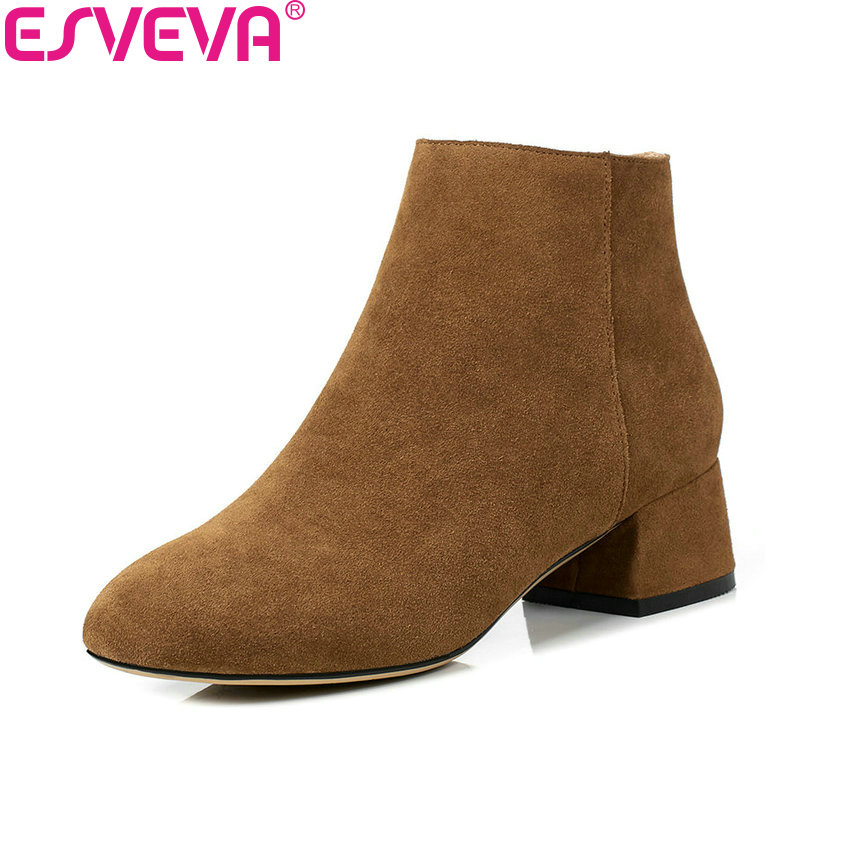 ESVEVA 2018 New Women Boots Lining Synthetic/PU Cow Suede Square Toe Med Heel Ankle Boots Solid Fashion Ladies Boots Size 34-40 10pcs is61lv51216 12ti new