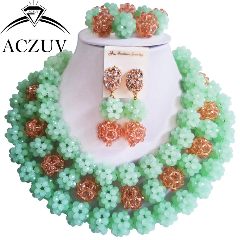 Brand ACZUV Big Chucky Nigerian Wedding African Beads Crystal Ball Mint Green Peach Jewelry Set Women Necklaces AN065 mint green casual sleeveless hooded top