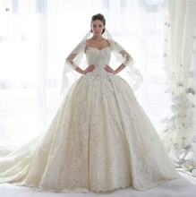 2016 Vintage Arab Sweetheart Lace Princess Ball Gown Wedding Dresses Gowns with Veil Weddingdress louisvuigon