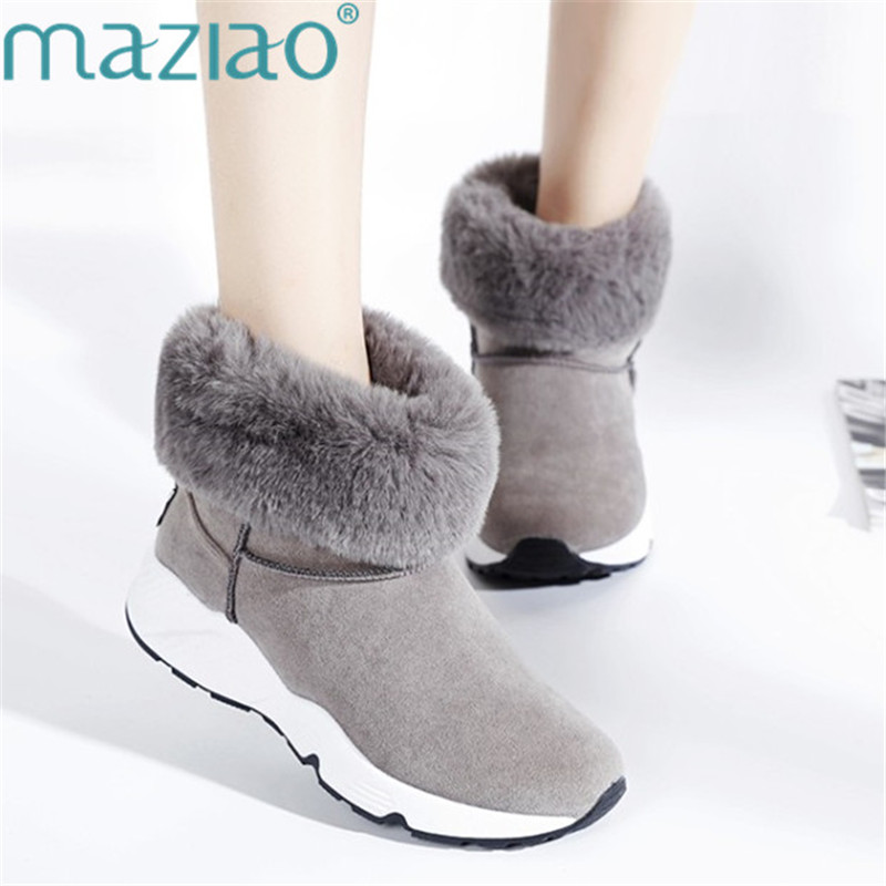 Winter Women Snow Boots Round Toe Ankle Boots Leisure Slip on Non-slip Sneakers Boots Warm Fur Plush Fluffy Shoes MAZIAO hot sale shoes women boots solid slip on soft cute women snow boots round toe flat with winter fur ankle boots