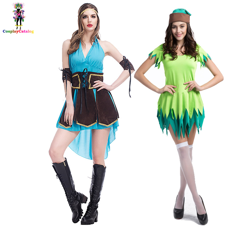 Halloween Adult Party Cosplay Womens Sexy Robin Hood Costume Lady Hunter Dresses Dangerous Huntress Costumes