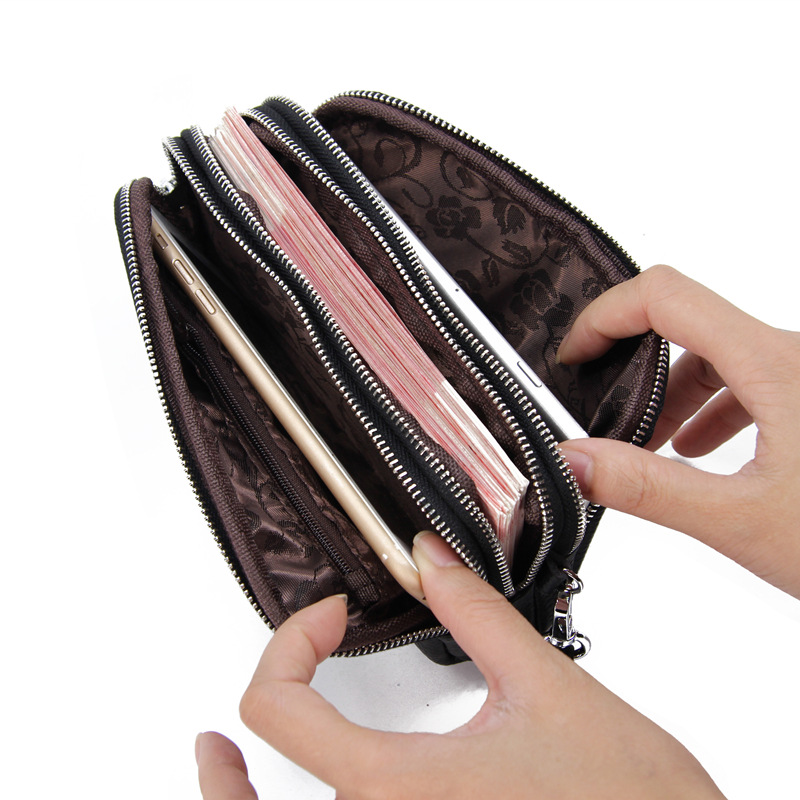 CICICUFF Genuine Leather Women Wallet Large Capacity Three Layers Zipper Cellphone Pouch Coin Purse Female Wrist Bag Clutch New