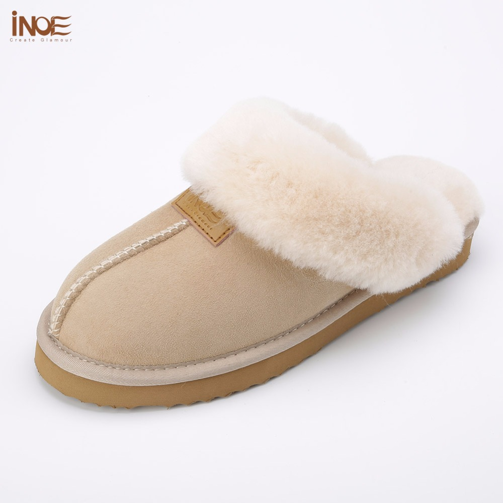 INOE classic women real sheepskin leather wool fur lined winter slippers home shoes baboon in house