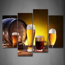 4 Panels Unframed Wall Art Pictures Yellow Beer White Canvas Print Modern Food Posters No Frames For Living Room Decor