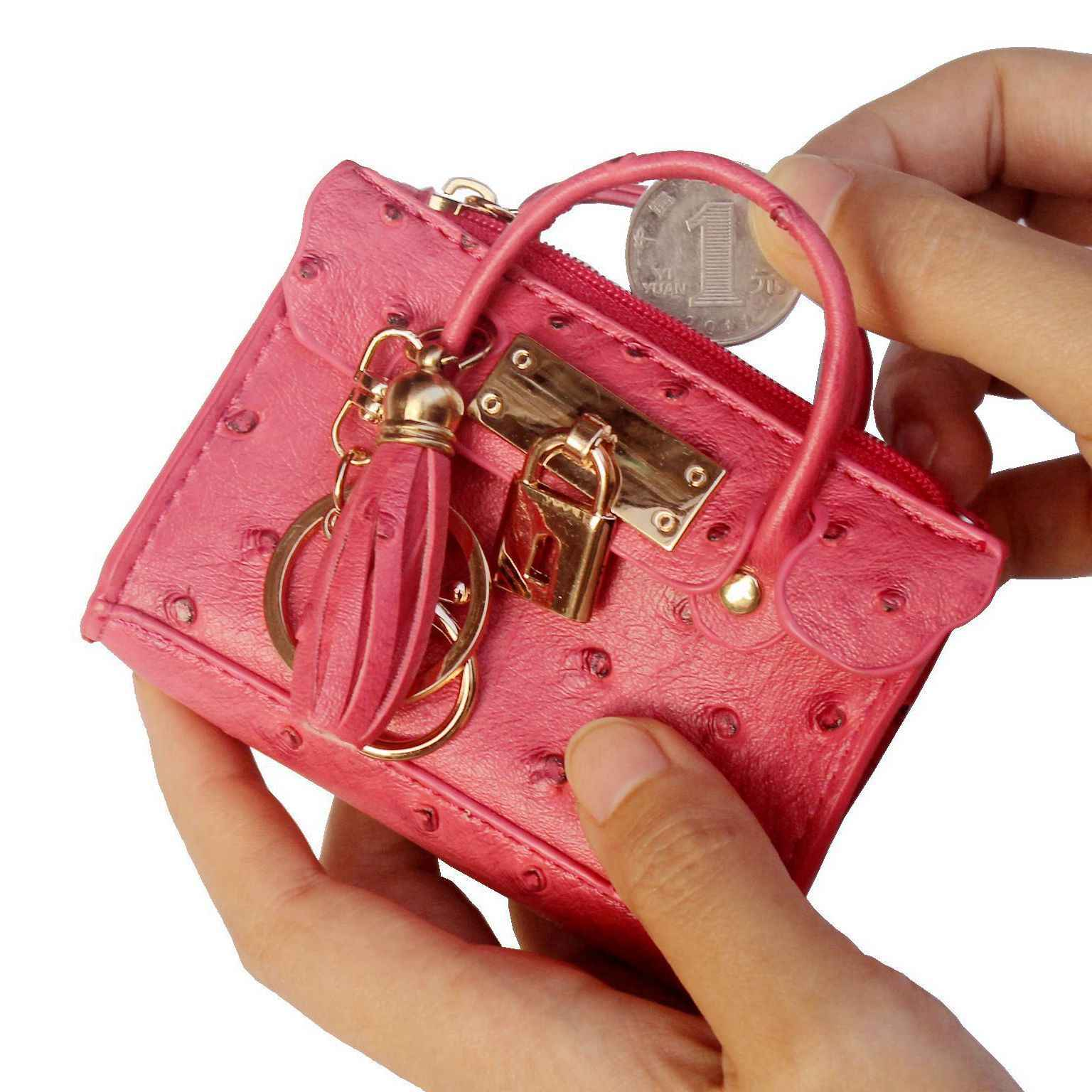Fashion Leather Coin Purse Tassel Women Mini Handbag Lock Decoration Small Change Wallet Key Ring Holder Carteira