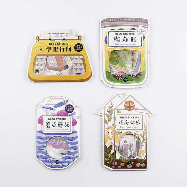 US $1 65 |20pcs/box Mushroom Glass greenhouse paper sticker DIY diary  scrapbooking gift cards decoration sticker children's stationery-in  Stationery