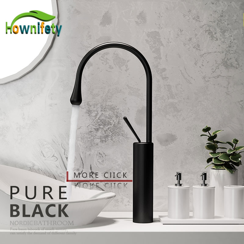 Brushed Gold Modern Nordic Simple Basin Faucet Hot and Cold Blacked Wash Kitchen Faucet High Splash