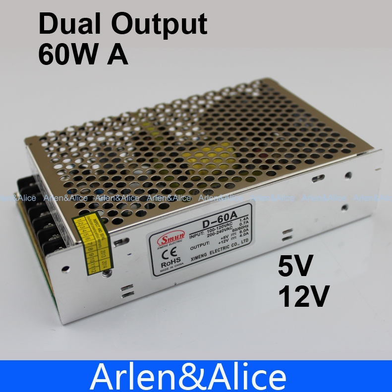 D 60W A Dual output 5V 12V Switching power supply AC to DC DC4A DC3A meanwell 12v 350w ul certificated nes series switching power supply 85 264v ac to 12v dc