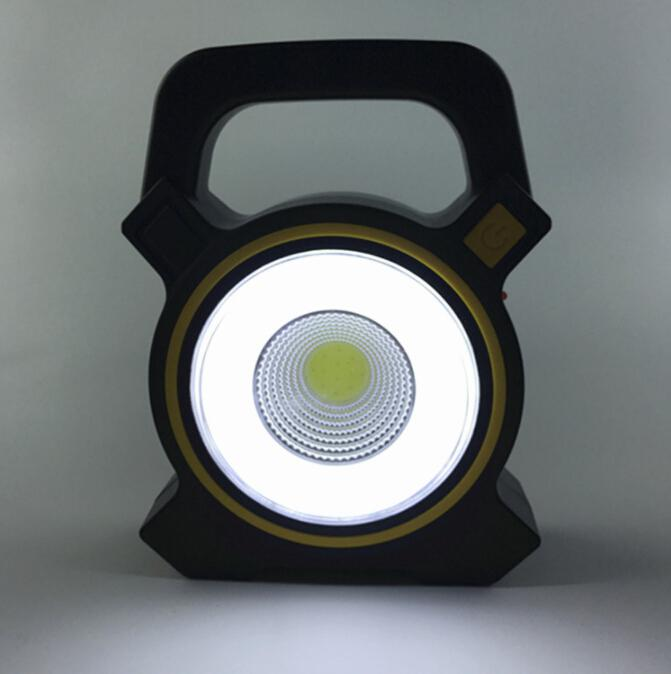 AKDSteel Solar Powered COB Light USB Charging Portable Lantern Camping Light Handled Inspection Outdoor Lamp Searchlight